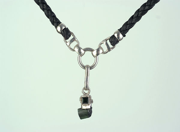 Raw & polished green Tourmaline silver & leather necklace