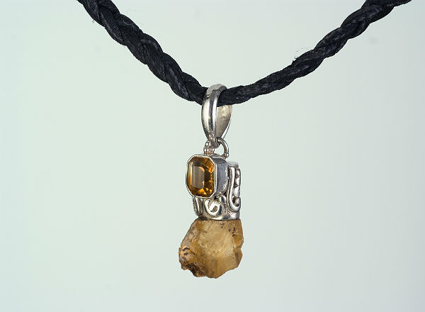 Raw & polished Citrine long leather string
